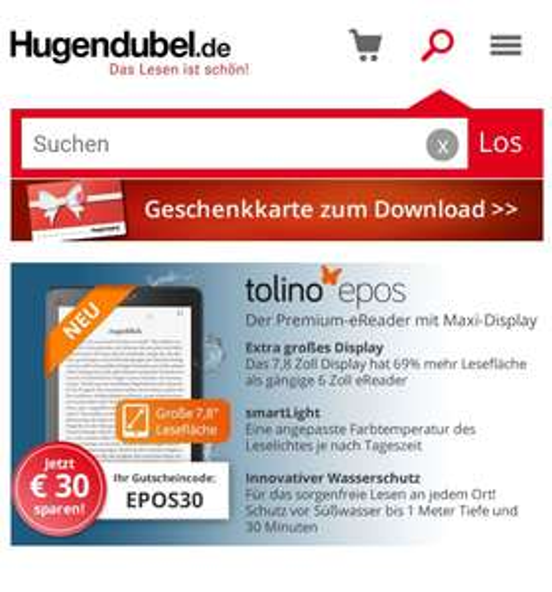 Tolino Epos 30 Euro Rabatt - Hugendubel 199 statt 229 (ca. 13% Ersparniss)
