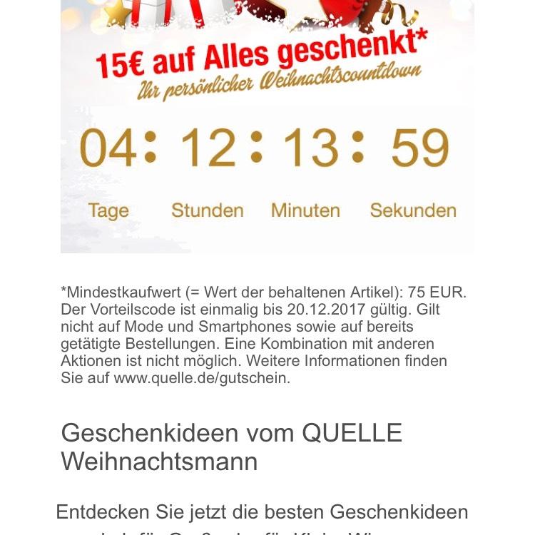 Quelle vergibt ein 15 EUR Gutschein auf alles Mindesbestellwert 75 EUR