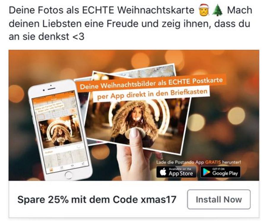 [Android & IOS] 25% Rabatt 1,49€ statt 1,99€ - Weihnachtskarten weltweit versenden *Postando Postkarten App*