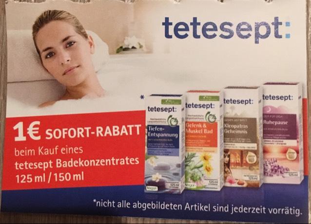 [ Müller, Nördlingen, lokal ]              1€ Rabatt beim Kauf eines tetesept Badekonzentrats.