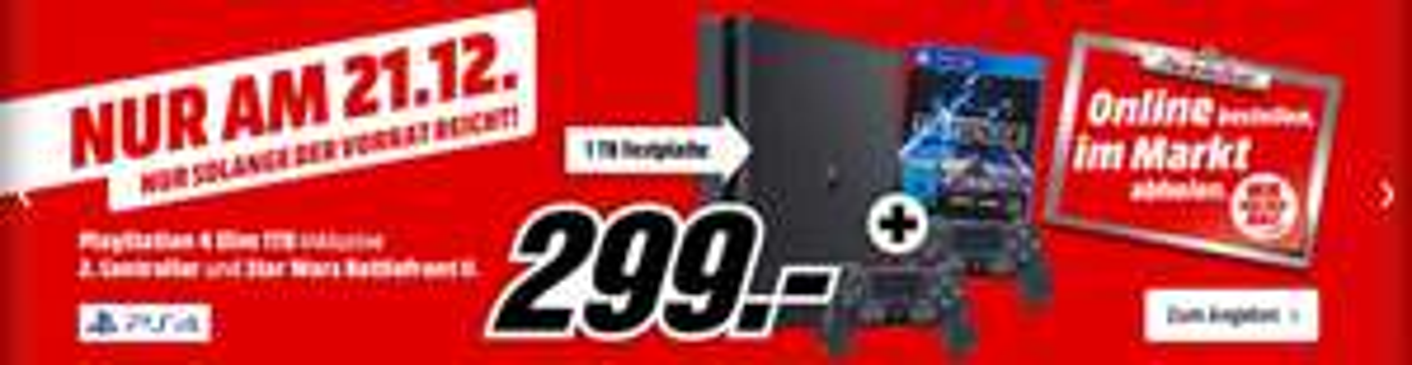 (Amazon/Media Markt) Sony PlayStation 4 (PS4) Slim 1TB + Star Wars: Battlefront 2 + 2.Controller