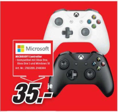 [Regional Mediamarkt Rhein-Neckar Region**11 Märkte**] MICROSOFT Xbox Wireless Controller Xbox One in schwarz oder weiß für je 35,-€