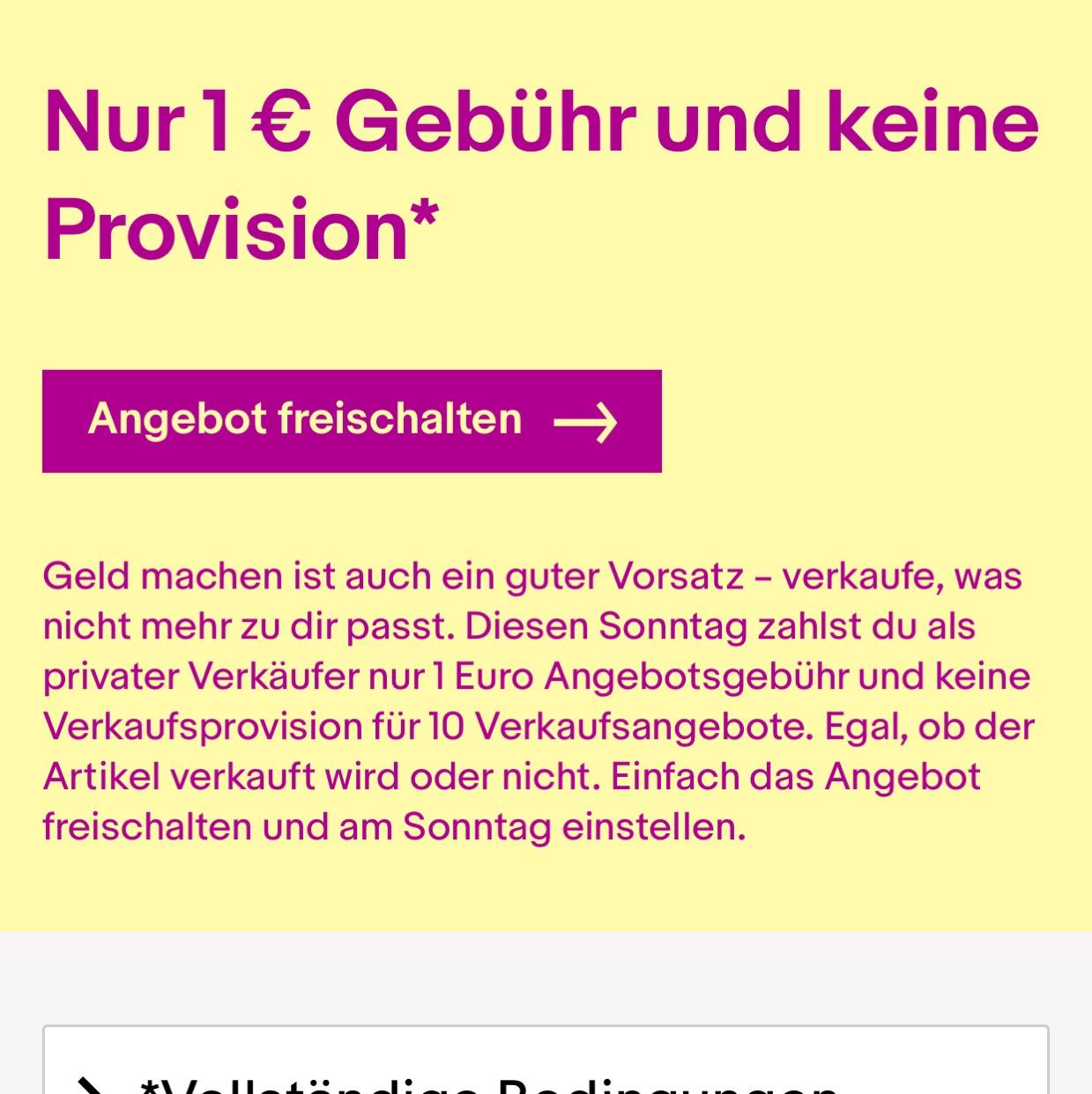 eBay - Nur 1 € Gebühr und keine Provision am Sonntag 07.01.18!