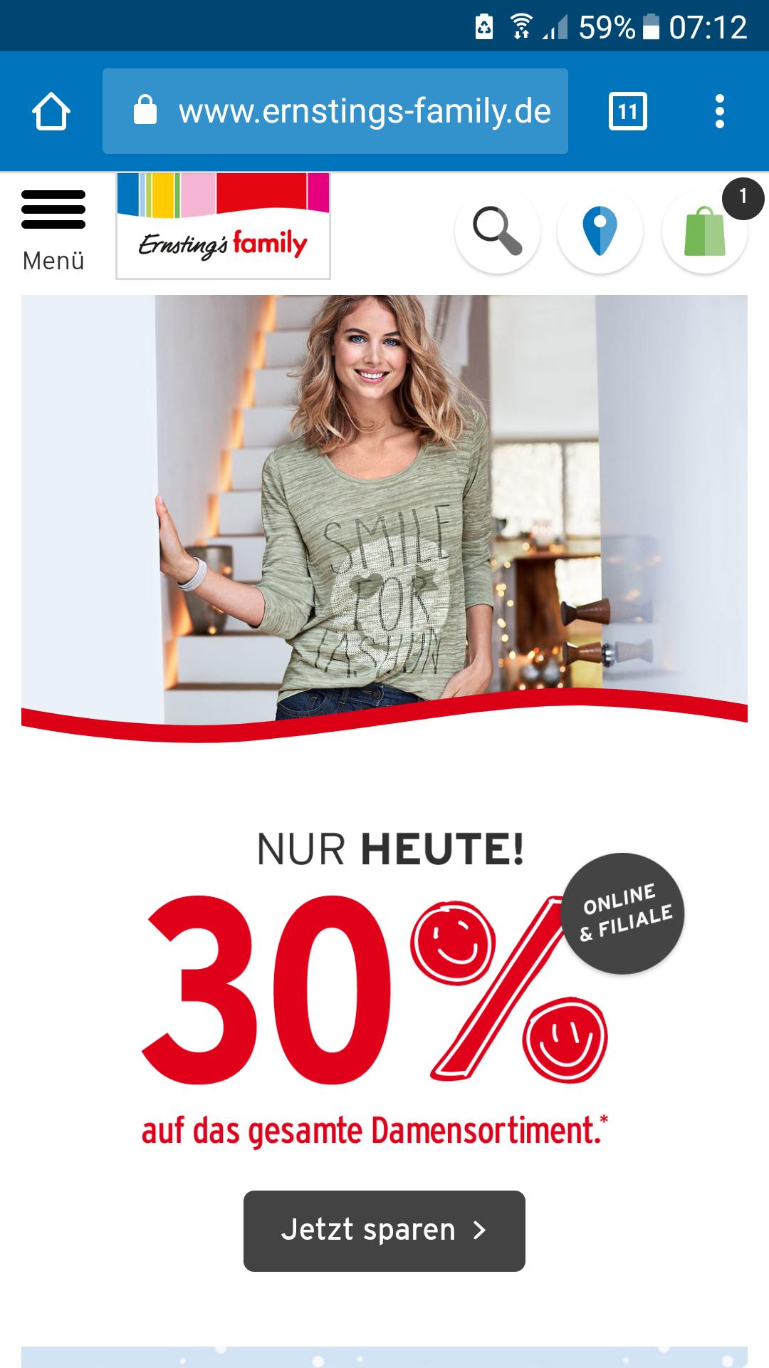 30% Rabatt auf Damenbekleidung