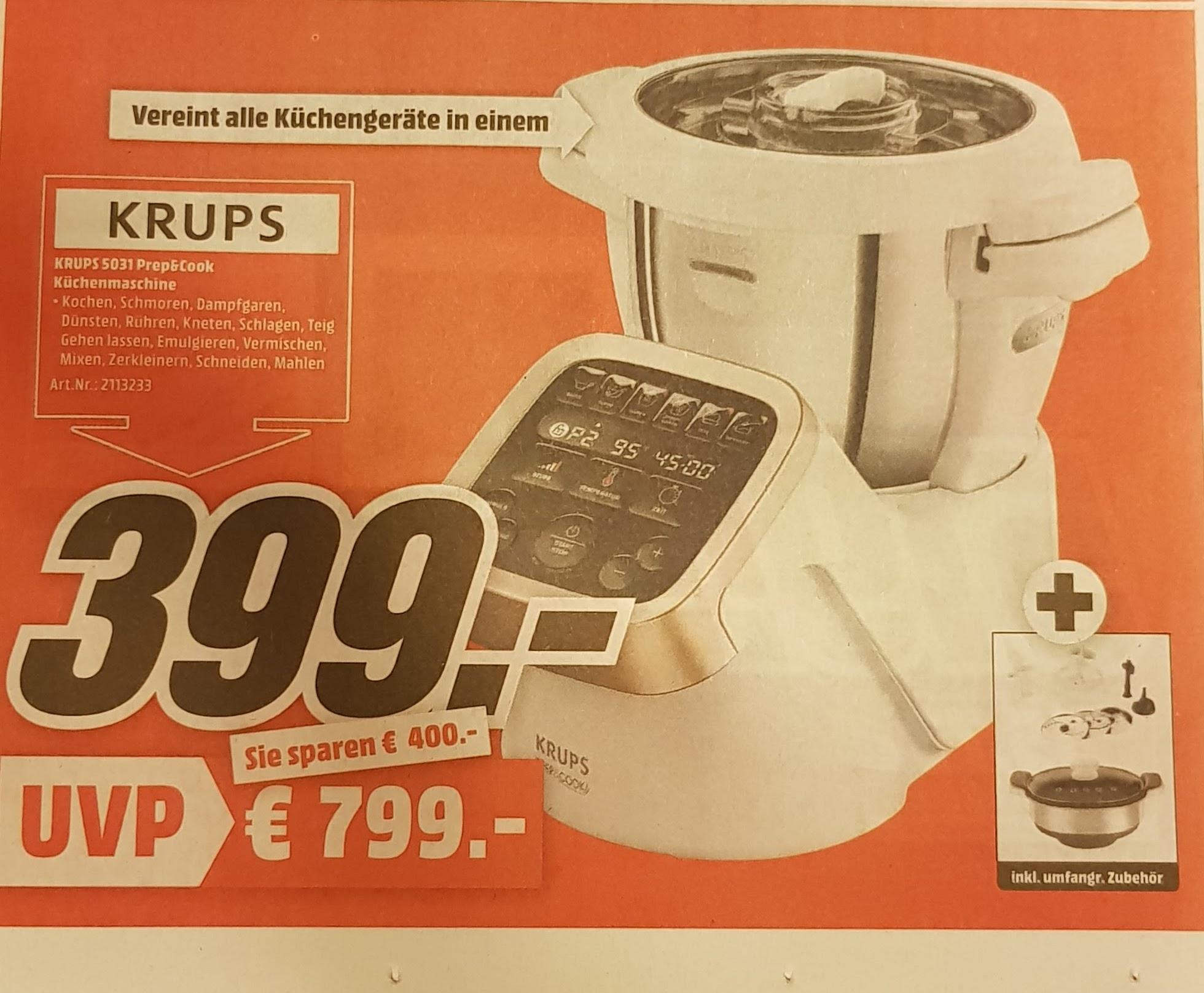 [Media Markt Rhein Neckar] Krups KRUPS HP5031 Prep&Cook inklusive Dampfgaraufsatz und Schnitzelwerk