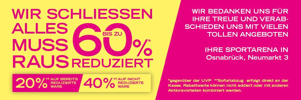 Lokal in Osnabrück: Ausverkauf bei der Sportarena mit 20-60% Rabatt