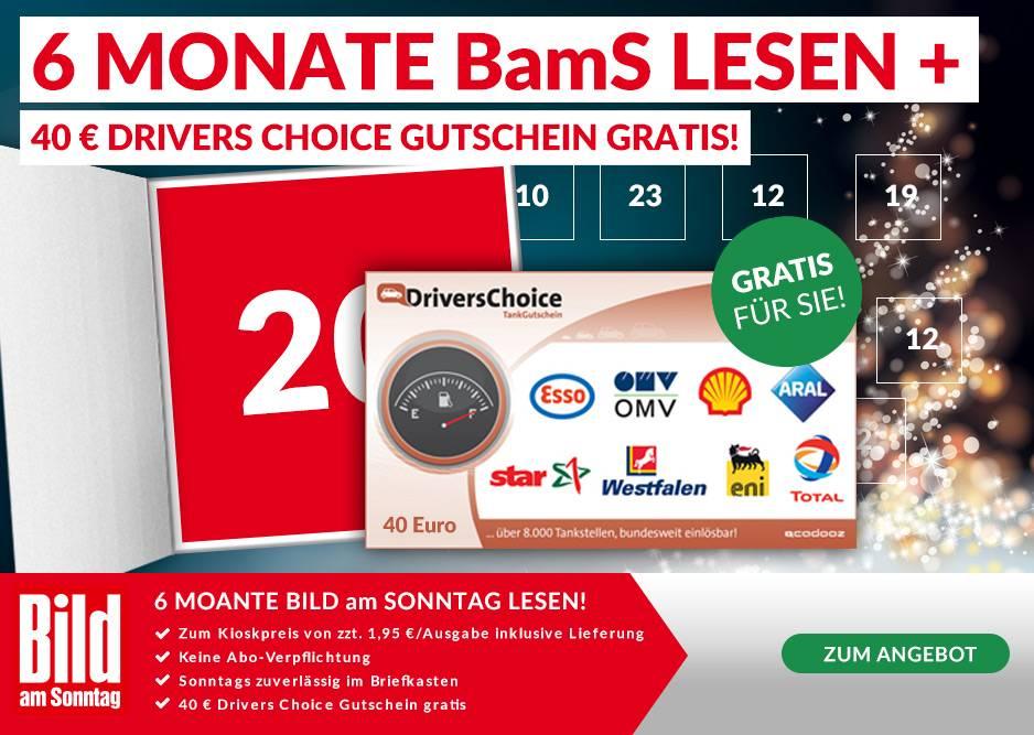 6 Monate Bild am Sonntag für 45,20€ mit 40€ Tankuniversalgutschein