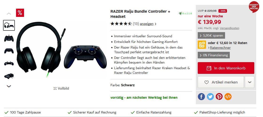 RAZER Raiju Bundle Controller + Headset mit ggf. 5% Sparvorteil + Versandkostenfrei