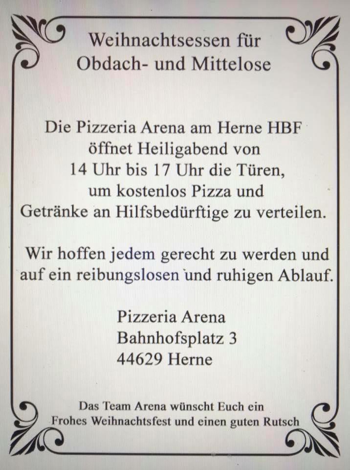 Gratis Pizza für Obdachlose und Hilfebedürfige - Herne HBF - Pizzeria Arena  LOKAL