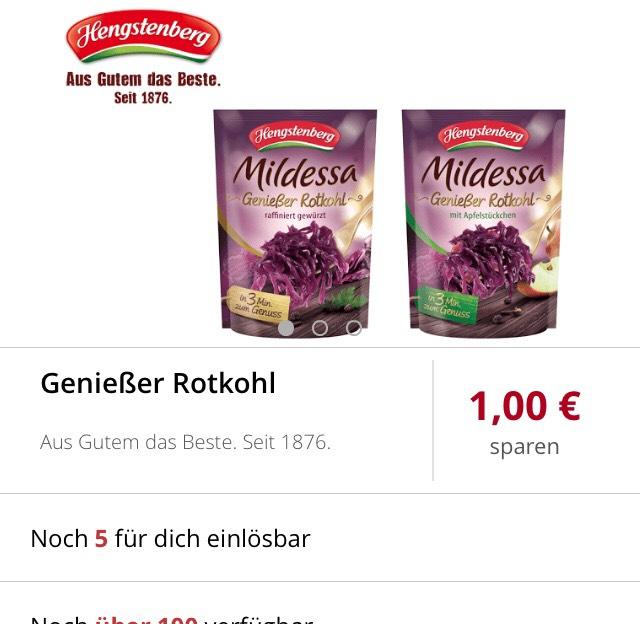 [ Scondoo ]                                         1€ Cashback für eine Packung Genießer Rotkohl von Mildessa