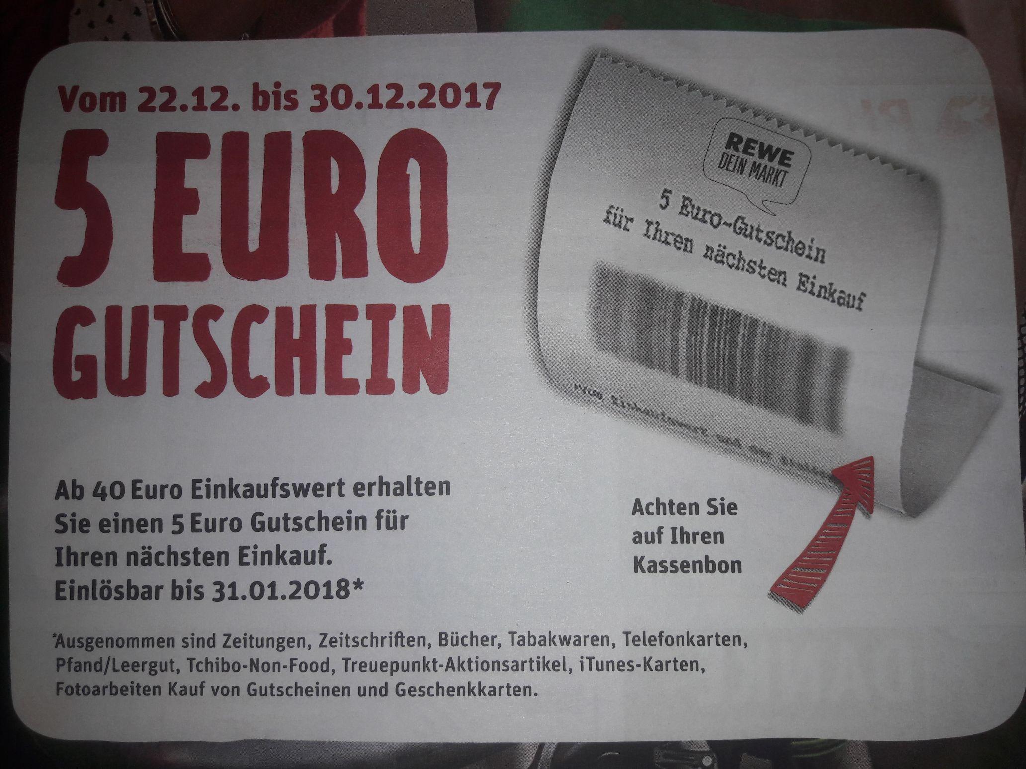 5€ Gutschein ab 40€ Einkauf (Rewe Lokal, Vechelde/Wendeburg, bei Braunschweig)