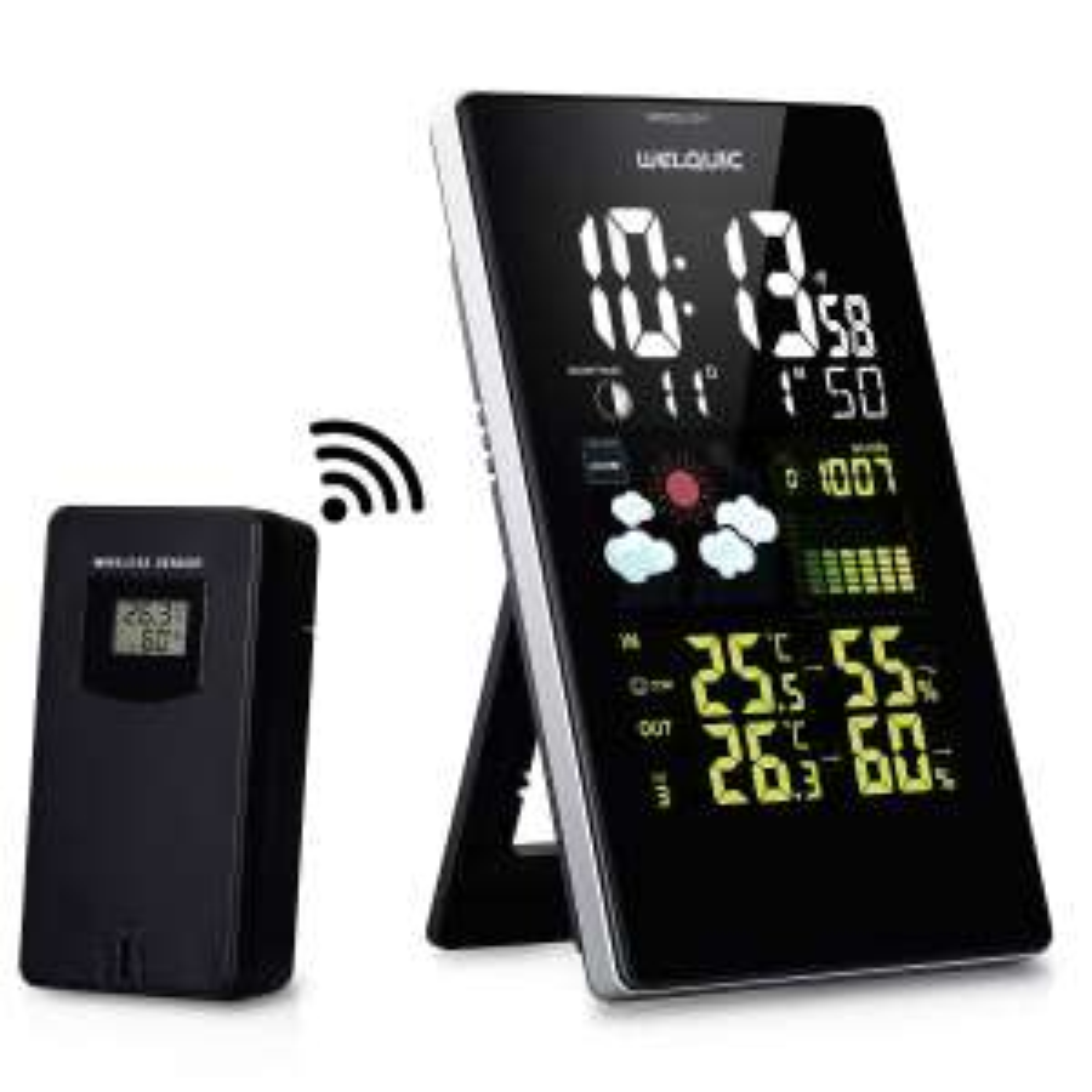 Amazon: WELQUIC digitale Funk-Wetterstation mit LCD Farbdisplay mit Innen- und Außentemperaturanzeige für 25,89 € statt 36,99 €
