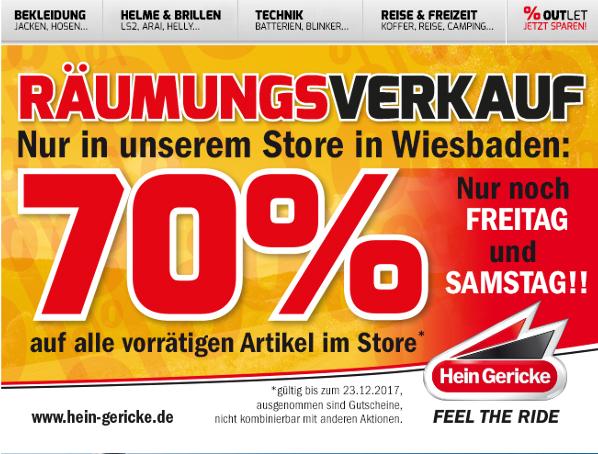 (nur lokal Wiesbaden) 70% Rabatt bei Hein Gericke auf alle vorrätigen Artikel
