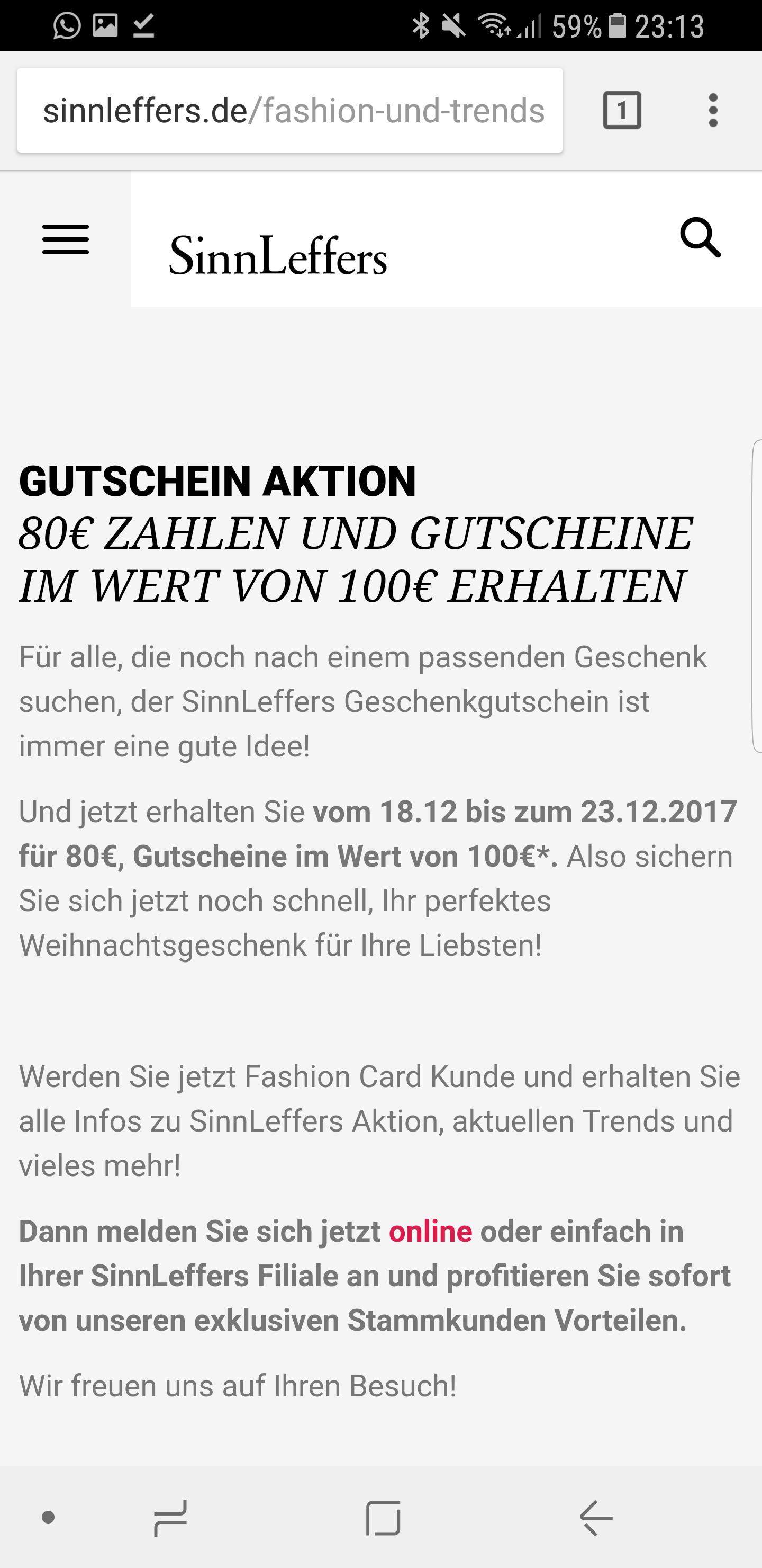 SinnLeffers 100€ Gutschein für 80€