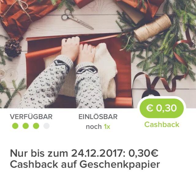 [ Marktguru]                                        0,30€ Cashback beim Kauf einer Rolle Geschenkpapier deiner Wahl