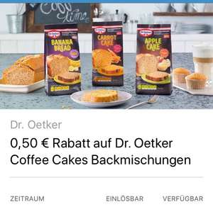 [ Coupies ]                                          0,50€ Cashback auf Dr. Oetker Coffee Cakes Backmischungen