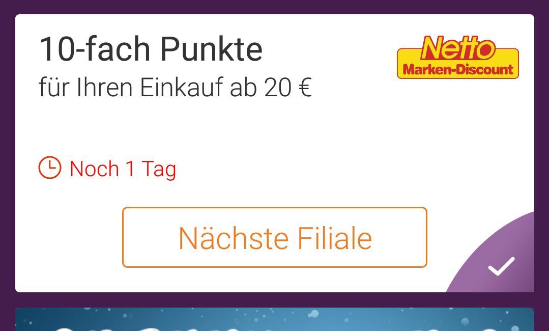 [Netto MD offline] 10 Fache Punkte über die DeutschlandCard App ab einem Einkauf von 20€