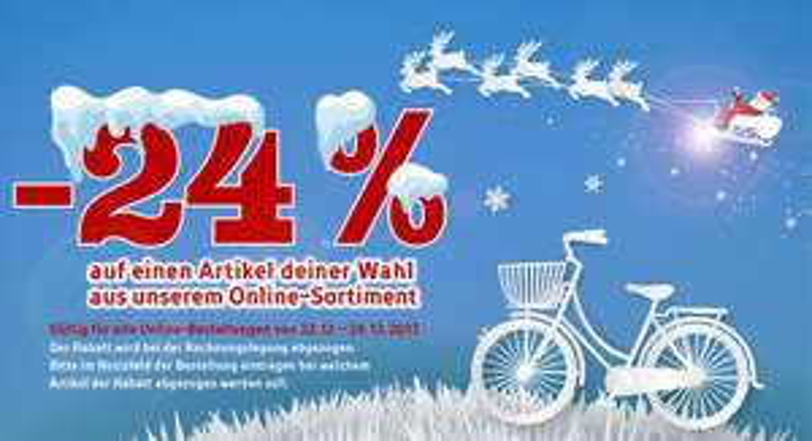 24 Prozent auf einen Artikel bei Bikepalast.com