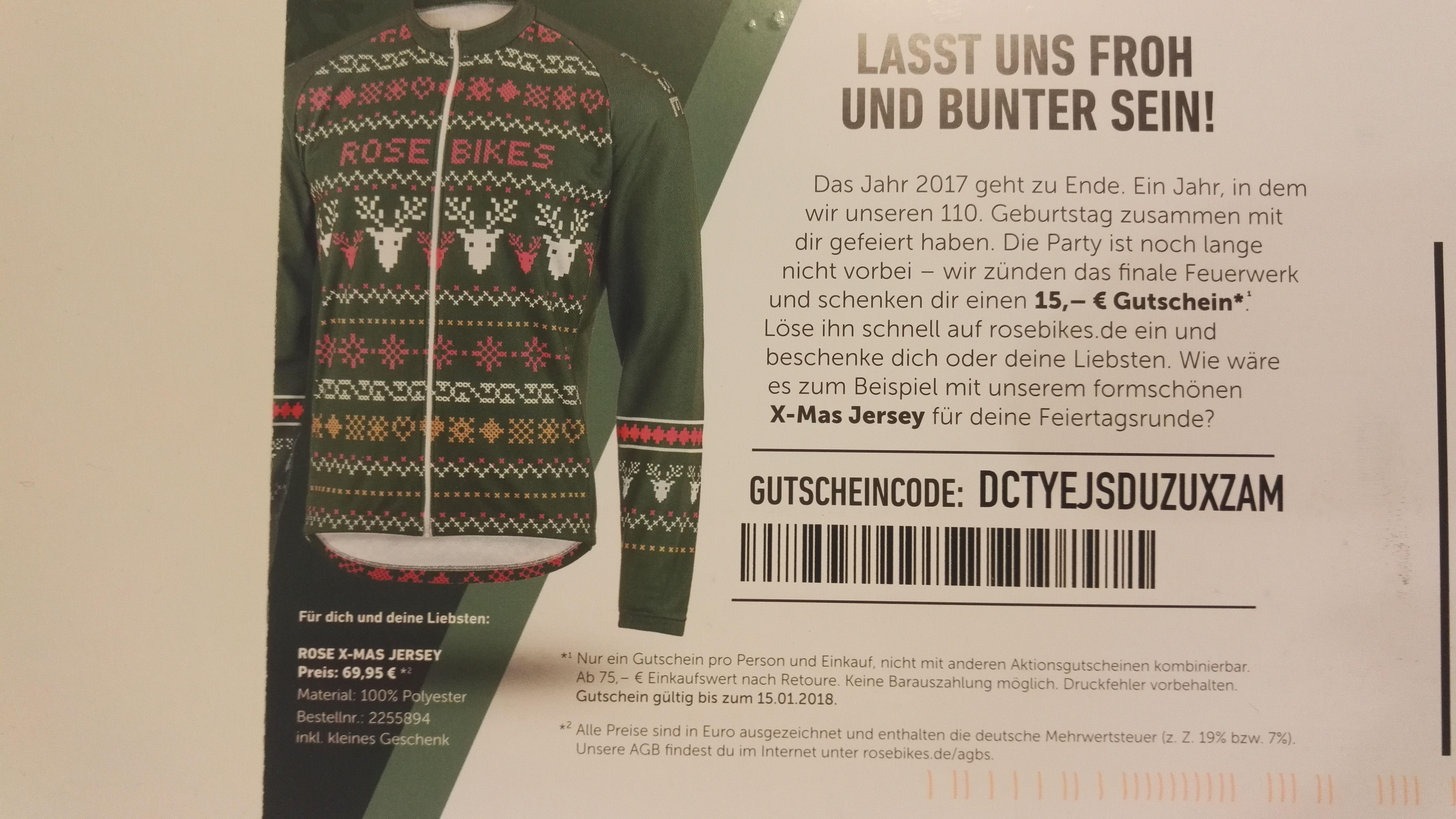 ROSEBIKES: 15 Euro Gutschein ab 75 MBW