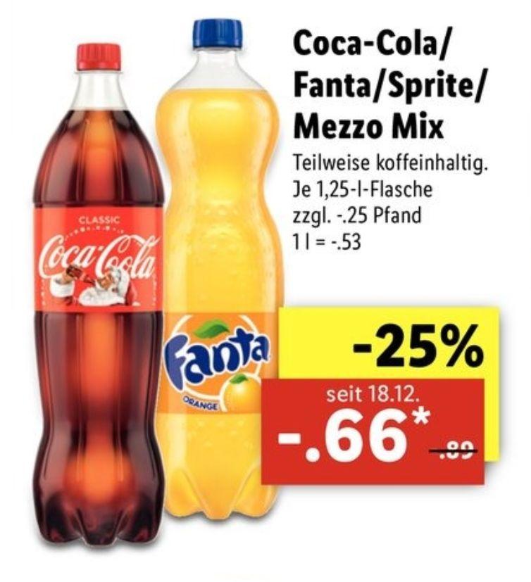 LIDL - Coca Cola, Fanta, Sprite, Mezzo Mix 1,25 l