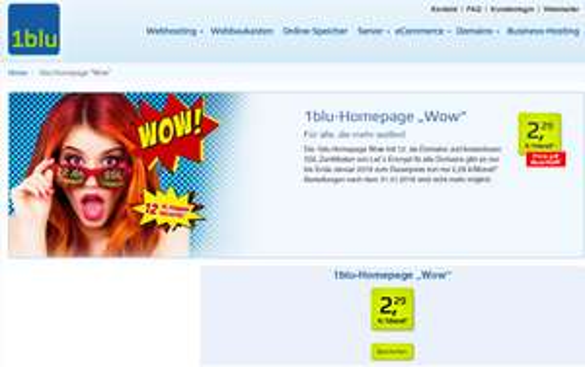 """1blu Homepage """"Wow"""" mit 12 .de-Domains + Webhosting 100 GB für 2,29€ pro Monat dauerhaft"""