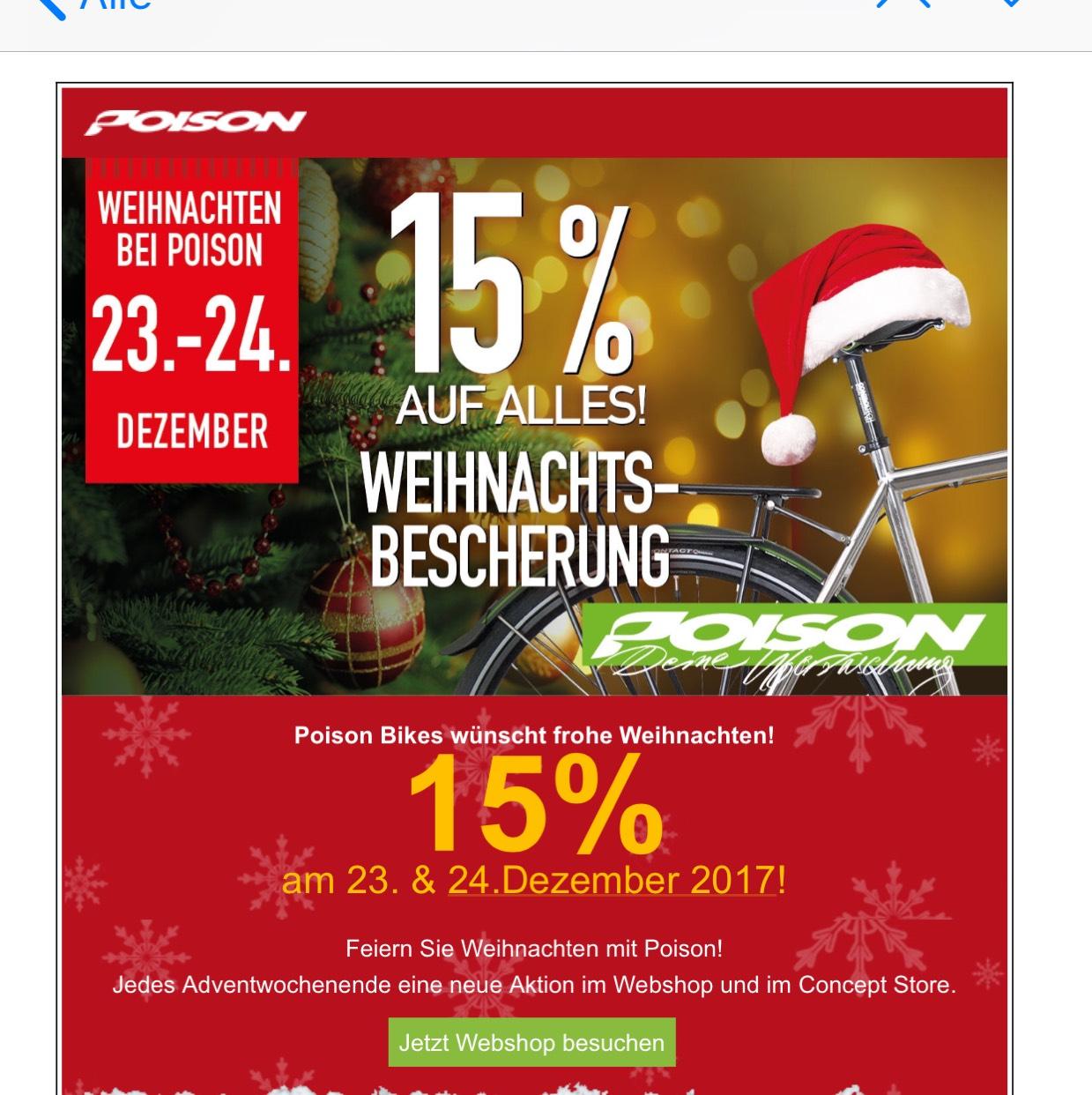 15% auf das gesamte Poison-Bikes Sortiment