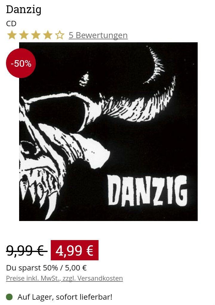 Danzig - CDs bei EMP - Die ersten drei Alben günstig wie vielleicht nie zuvor (Backstage-Club oder 30€ MBW: versandkostenfrei)