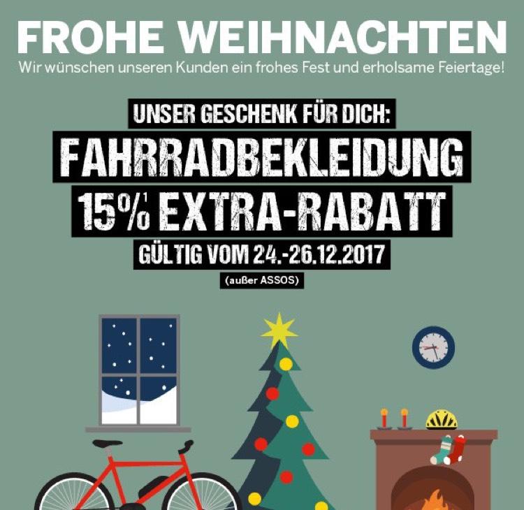 [Bike Discount] 15% auf Fahrradbekleidung (außer von Assos)