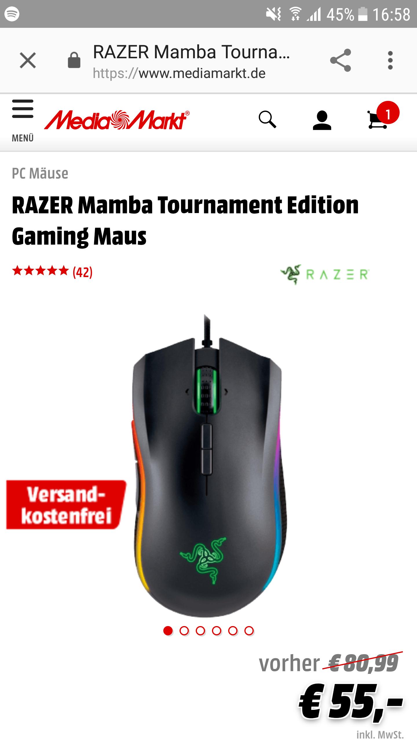 Razer Mamba Tournameent Gaming Maus