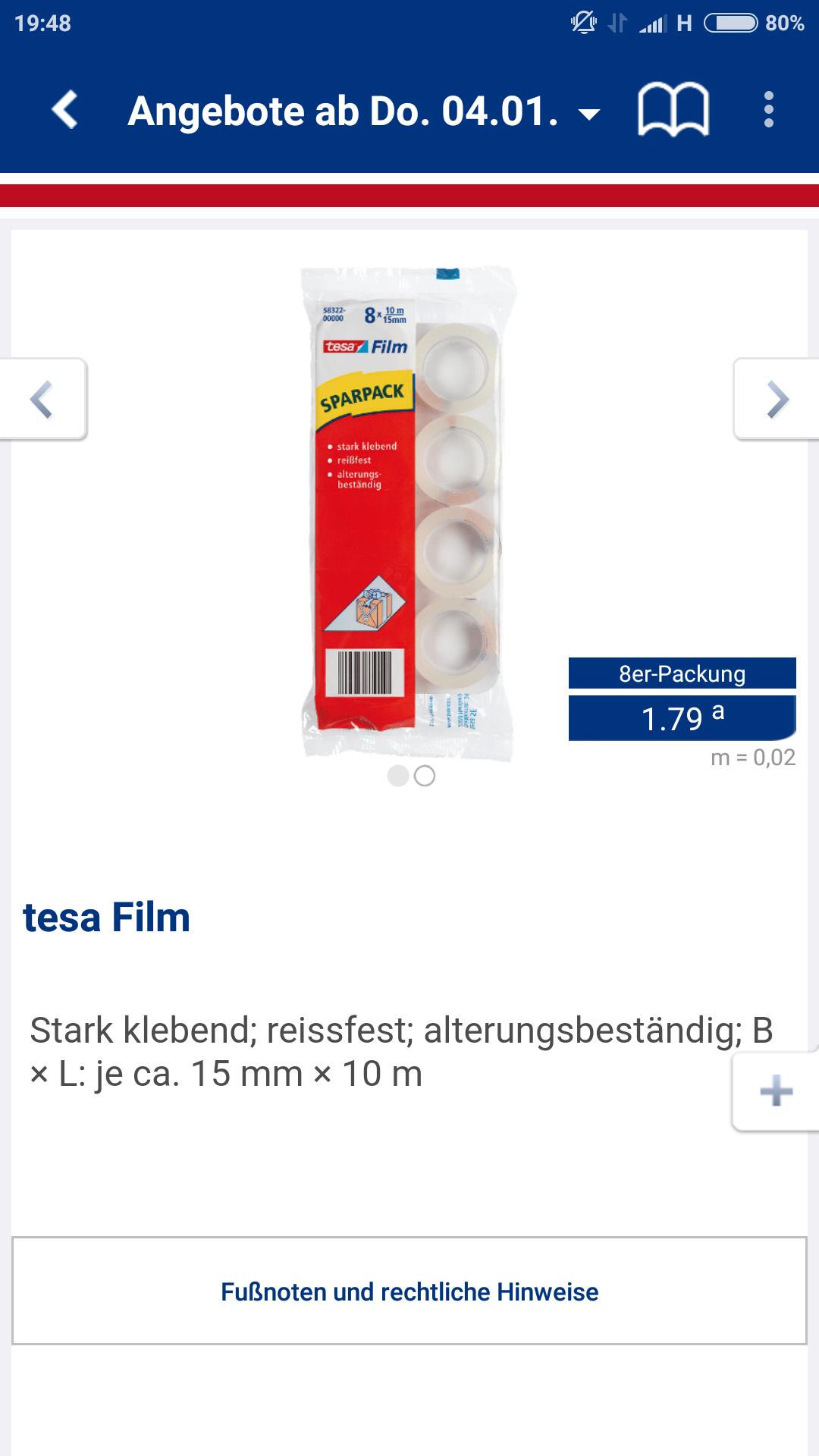 [Aldi Nord]Tesa Film 8 Rollen 1,79€/ Tischabroller 1,99€