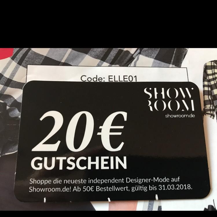 20€ Gutscheincode (ab 50€ Bestellwert) @ showroom.de
