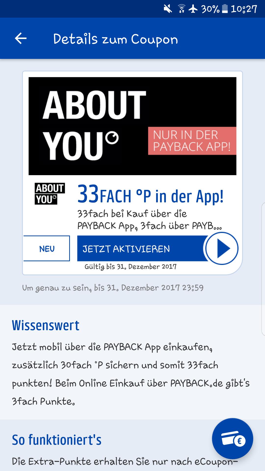 [Im zahlreichen Payback Konten] 33fach Punkte bei About You beim kauf über die Payback App bis 31.12.2017.