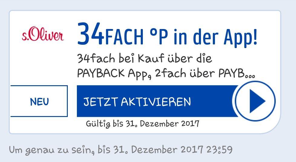[In zahlreichen Payback Konten] 34 fach Punkte bei s.Oliver beim Kauf über die Payback App bis 31.12.2017