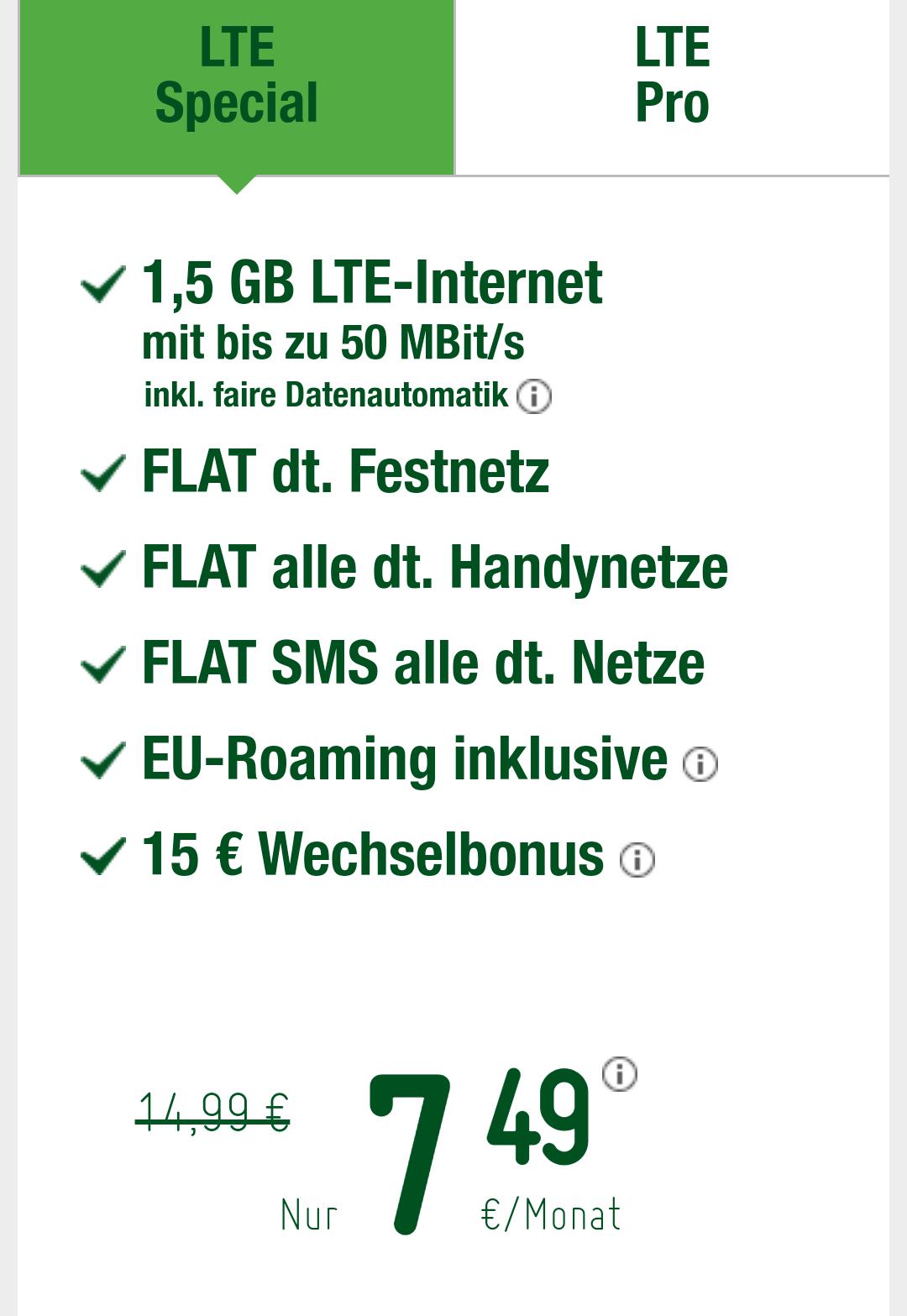 Smartmobil 1,5 GB LTE 50 Mbit/s