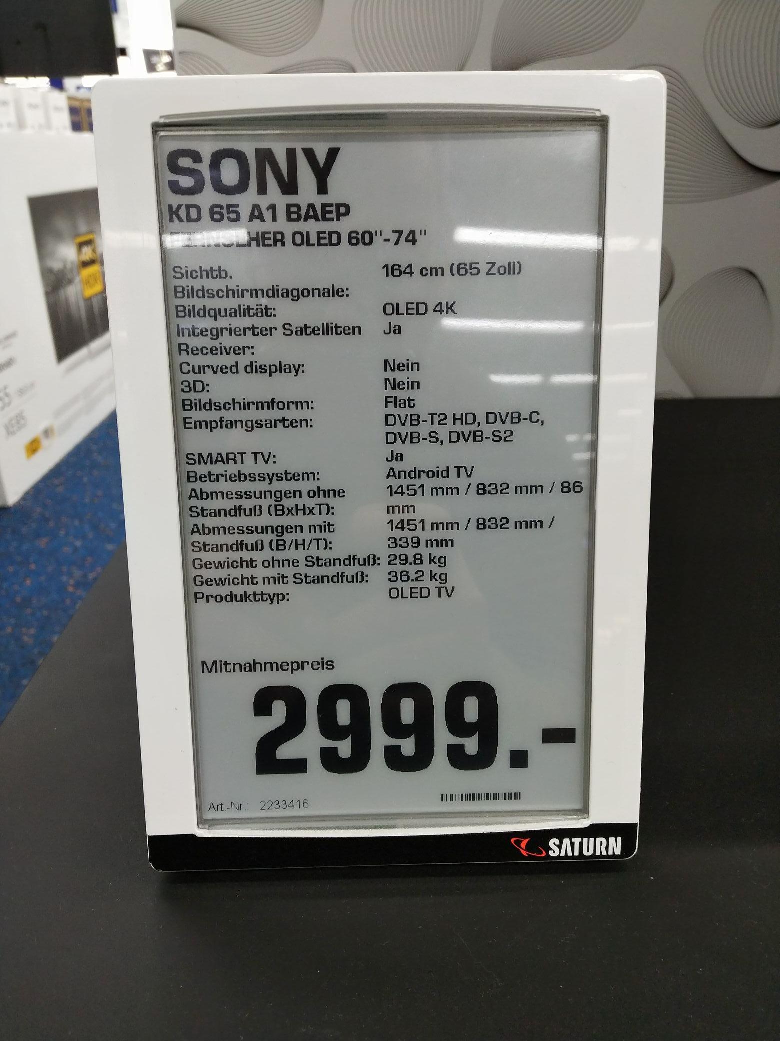 Sony KD 65 A1 für 2999€ Saturn Essen