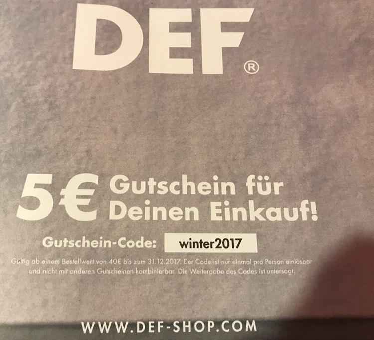 5€ DEF-Shop Gutschein, MBW 40€, bis 31.12.207