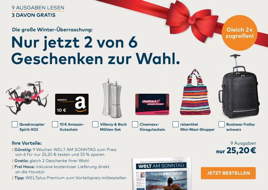 [lesershop24.de] 9 Ausgaben Welt am Sonntag + 2 Geschenke für 25,20€