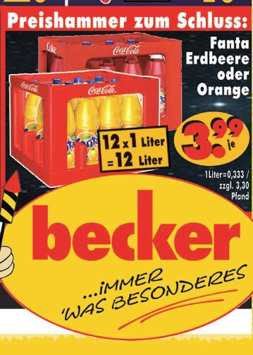 12x 1 Liter Fanta Orange/Erdbeere für 3,99€ [RB Becker]
