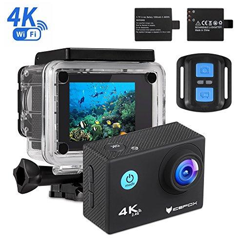 4K Action Cam von icefox - 2 Akkus, Fernbedingung, 4k Aufnahmen, Wasserdicht