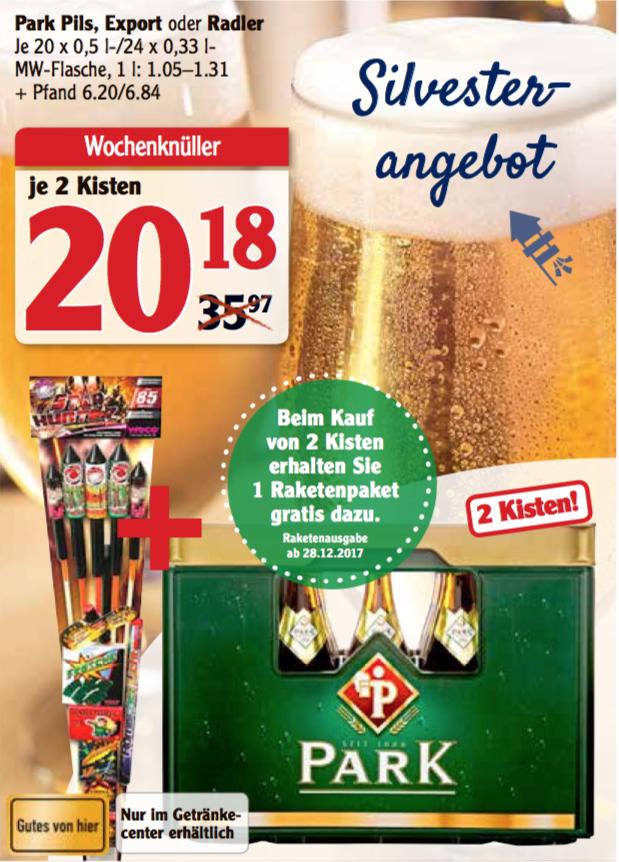 2x Kisten Park Pils, Export oder Radler + Raketenpaket gratis dazu im Globus Homburg-Einöd (Saarland)