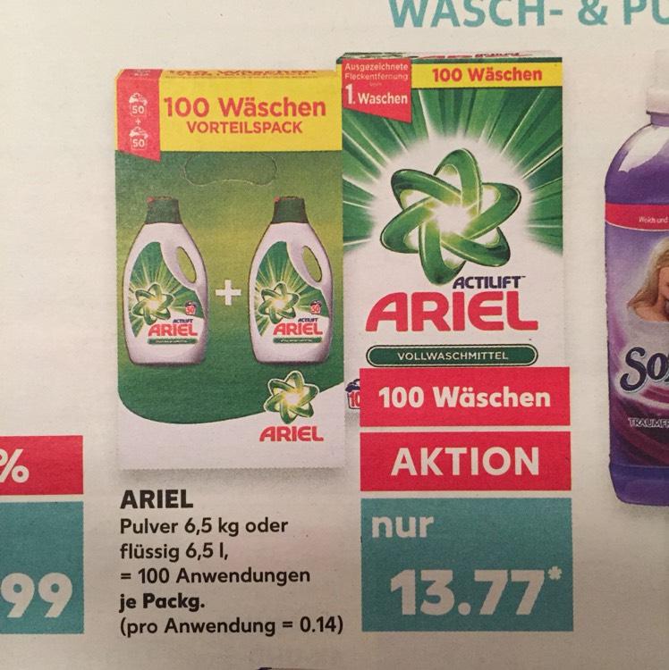 (Kaufland) Ariel flüssig oder Pulver / 100 Waschladungen / 13,77€ = 0,14€ pro WL