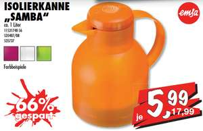 [Sconto lokal Chemnitz] Emsa Samba Quick Press Isolierkanne ca. 1 Liter