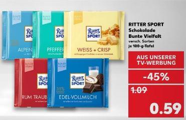 [Kaufland ab 04.01.] Ritter Sport Bunte Vielfalt 100g für 0,59€