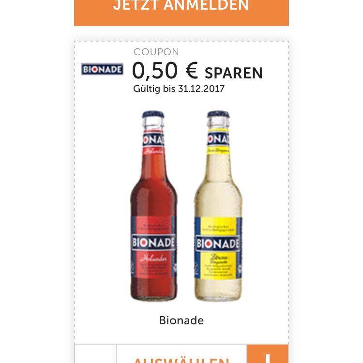 0,50€ sparen beim Kauf von 2 Fl. Bionade
