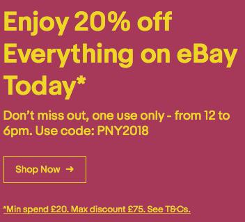 20% eBay UK Gutschein (funktioniert auch in DE) bis 19 Uhr