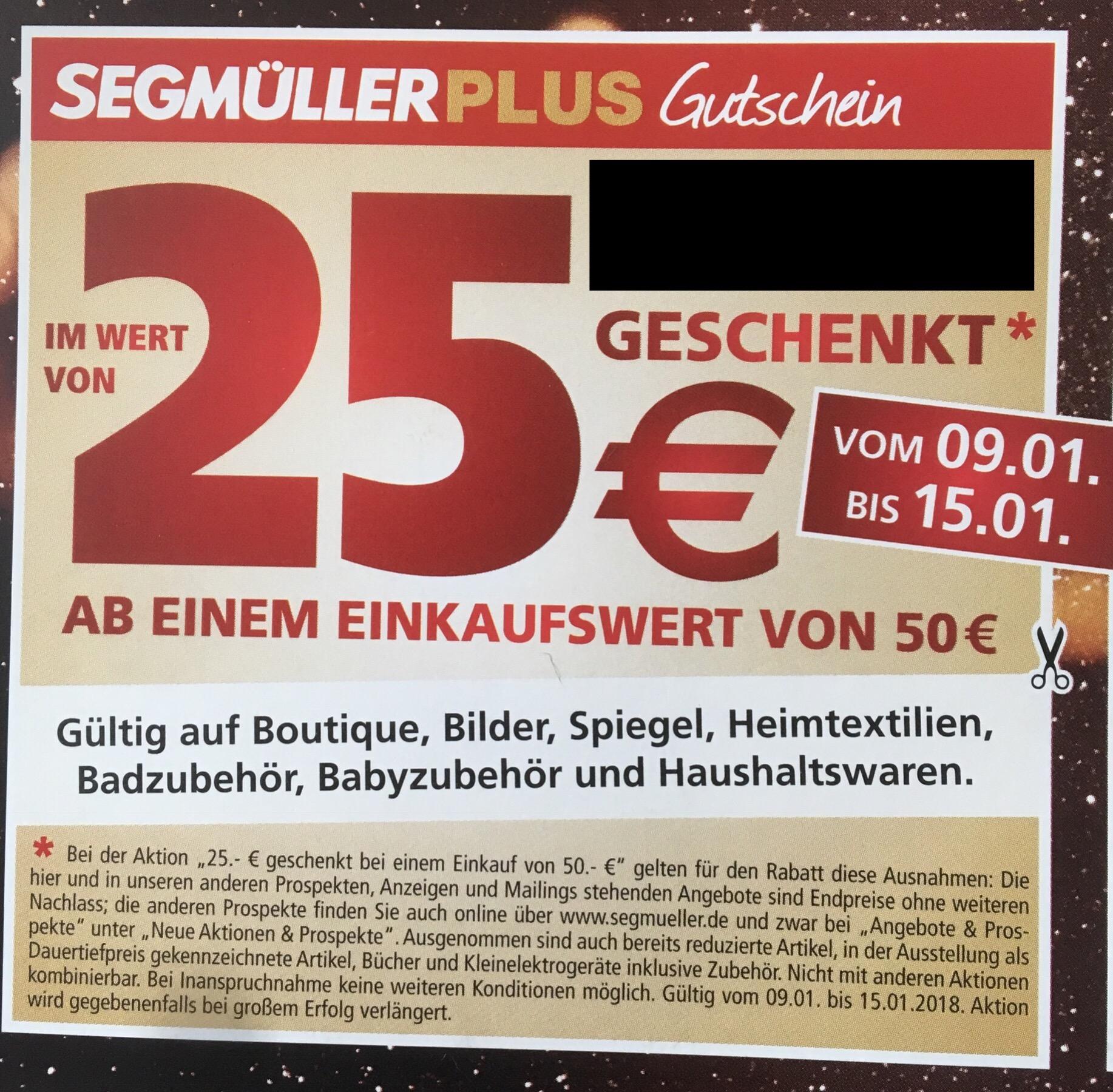 Segmüller Weiterstadt 25€ Nachlass ab 50€ Warenwert