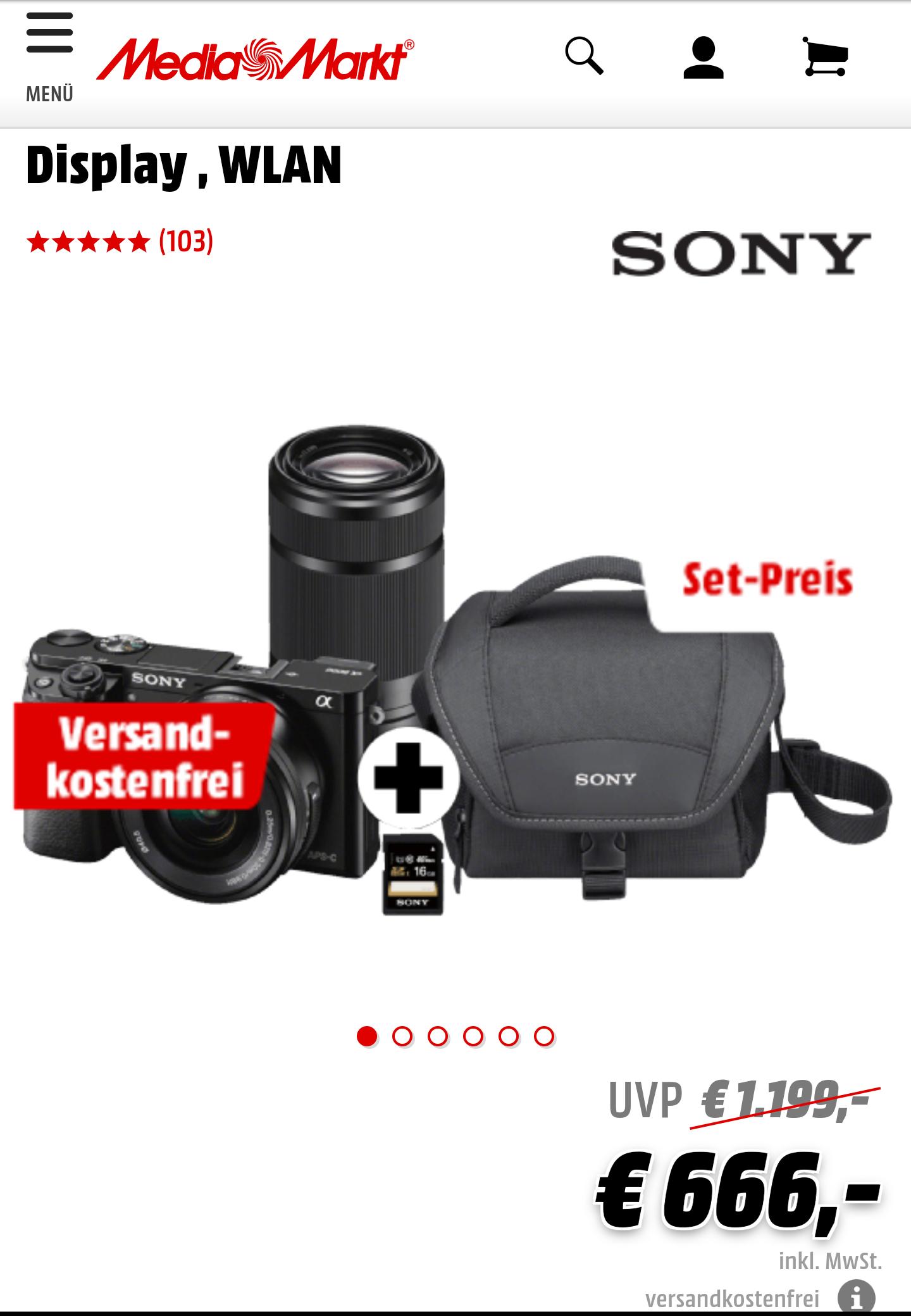Sony Alpha 6000 mit Kit + Zoom (16-55 und 55-210) + Tasche + SD Karte