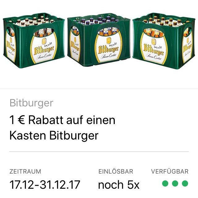 [ Coupies ]                                           1€ Rabatt auf einen Kasten Bitburger