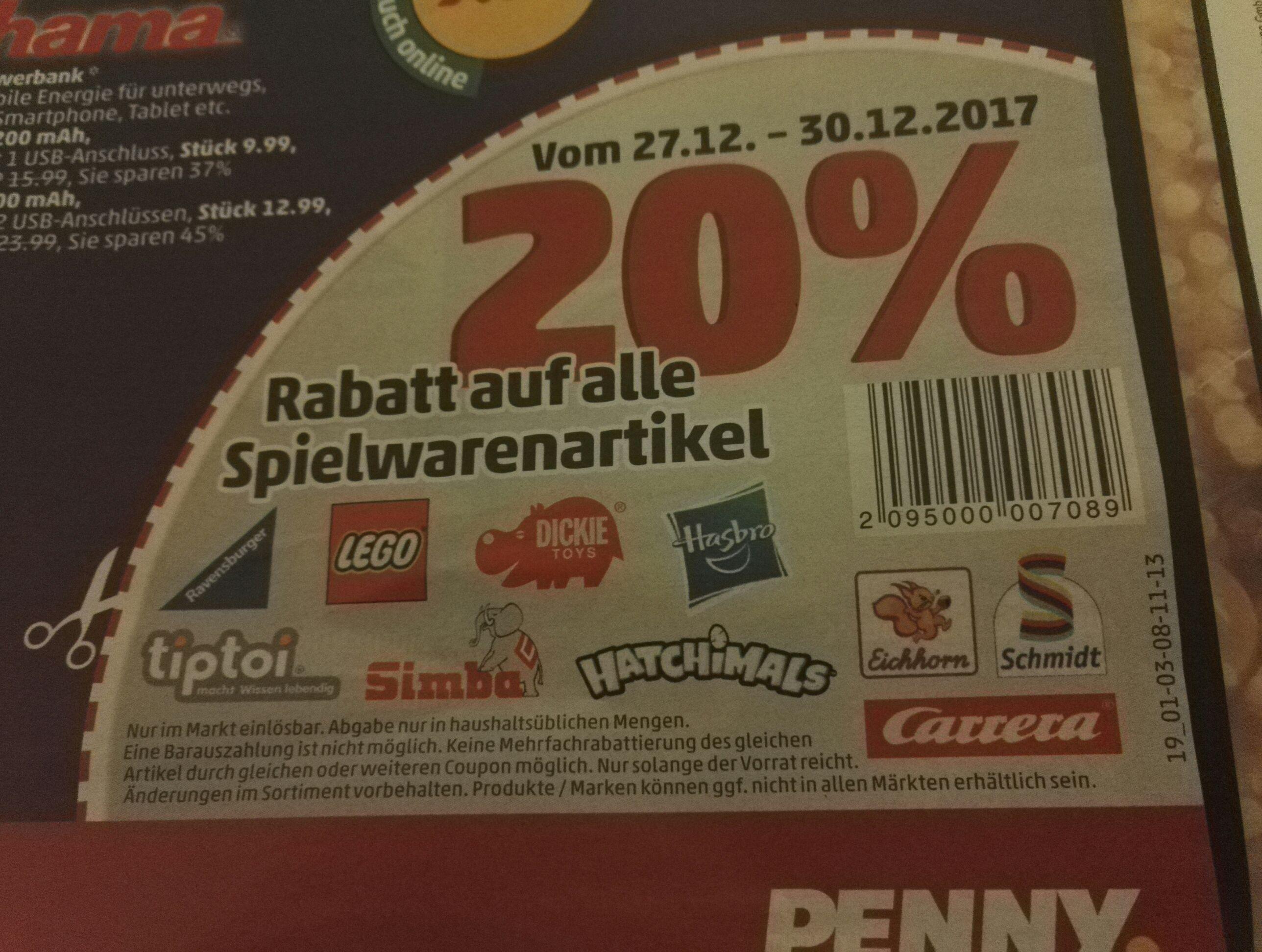 Last Minute 20% bei Penny auf Spielwaren evntl. Bundesweit