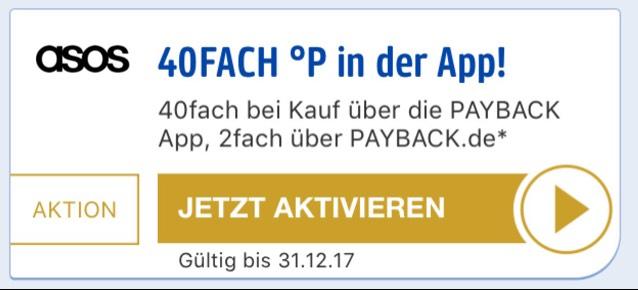 [Payback App] 40-fache Punkte bei asos - vermutlich nur ausgewählte Teilnehmer